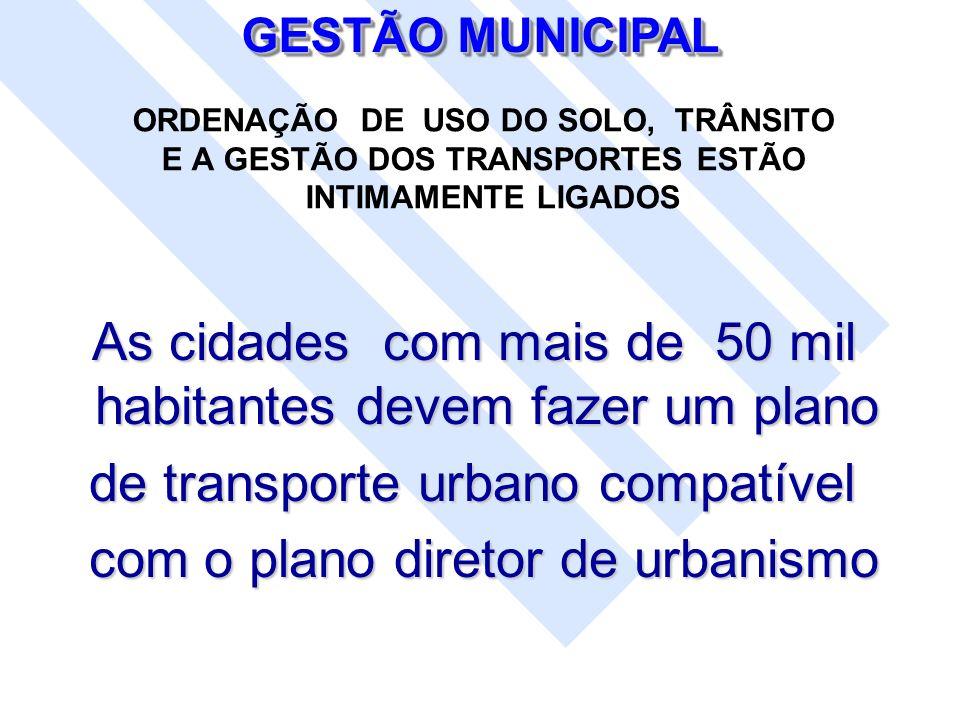 ORDENAÇÃO DE USO DO SOLO, TRÂNSITO E A GESTÃO DOS TRANSPORTES ESTÃO INTIMAMENTE LIGADOS As cidades com mais de 50 mil habitantes devem fazer um plano