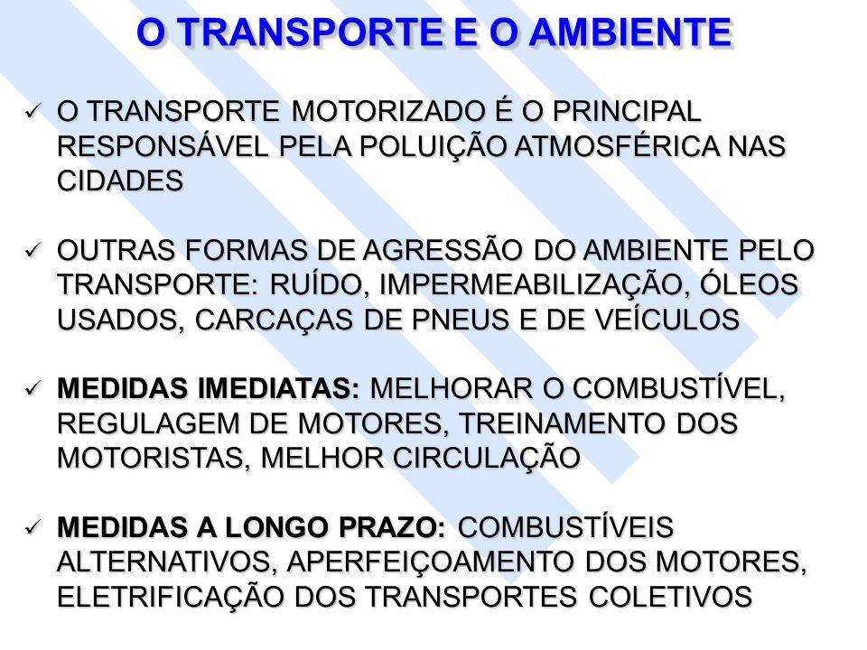 O TRANSPORTE MOTORIZADO É O PRINCIPAL RESPONSÁVEL PELA POLUIÇÃO ATMOSFÉRICA NAS CIDADES O TRANSPORTE MOTORIZADO É O PRINCIPAL RESPONSÁVEL PELA POLUIÇÃ