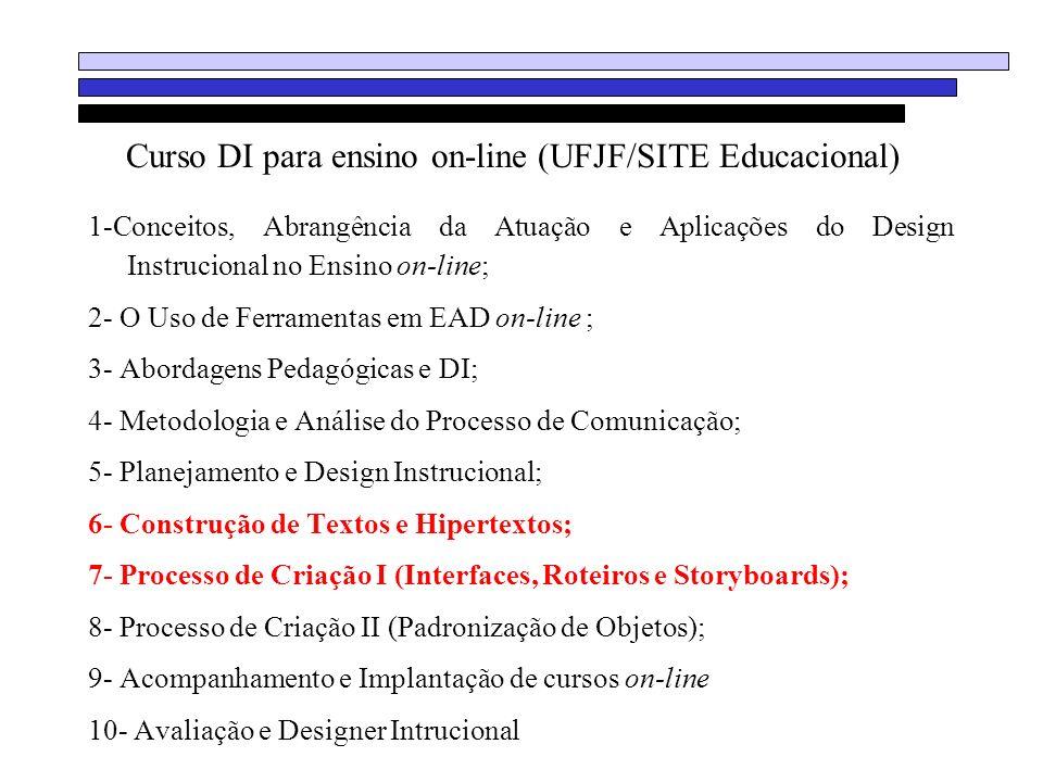 Curso DI para ensino on-line (UFJF/SITE Educacional) 1-Conceitos, Abrangência da Atuação e Aplicações do Design Instrucional no Ensino on-line; 2- O U