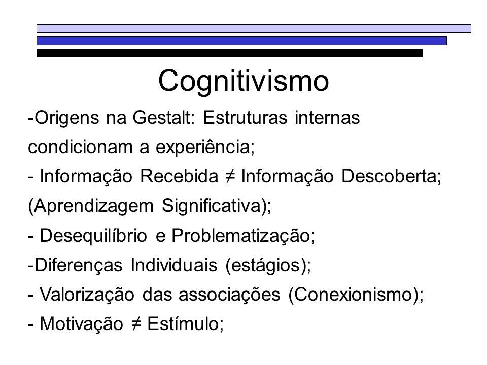 Cognitivismo -Origens na Gestalt: Estruturas internas condicionam a experiência; - Informação Recebida Informação Descoberta; (Aprendizagem Significat