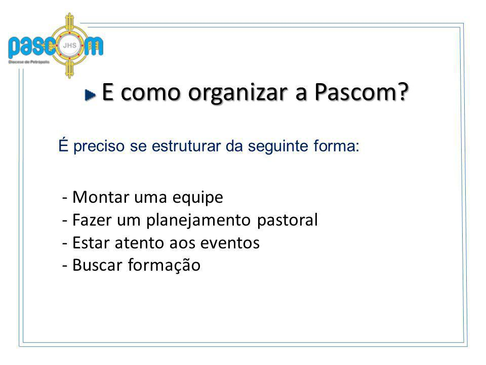 E como organizar a Pascom? E como organizar a Pascom? - Montar uma equipe - Fazer um planejamento pastoral - Estar atento aos eventos - Buscar formaçã