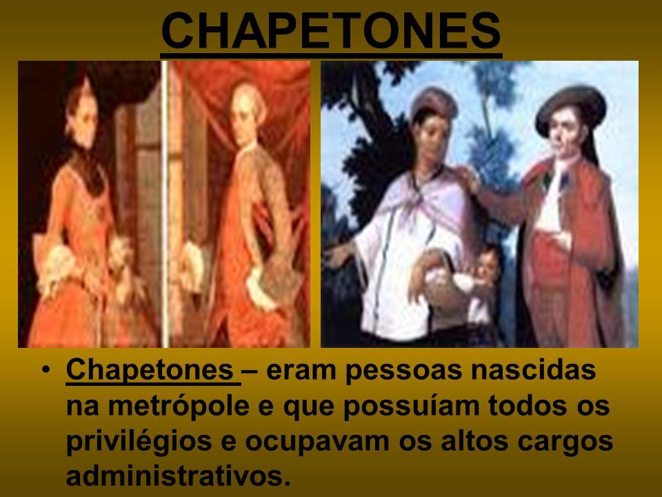 CHAPETONES Chapetones – eram pessoas nascidas na metrópole e que possuíam todos os privilégios e ocupavam os altos cargos administrativos.