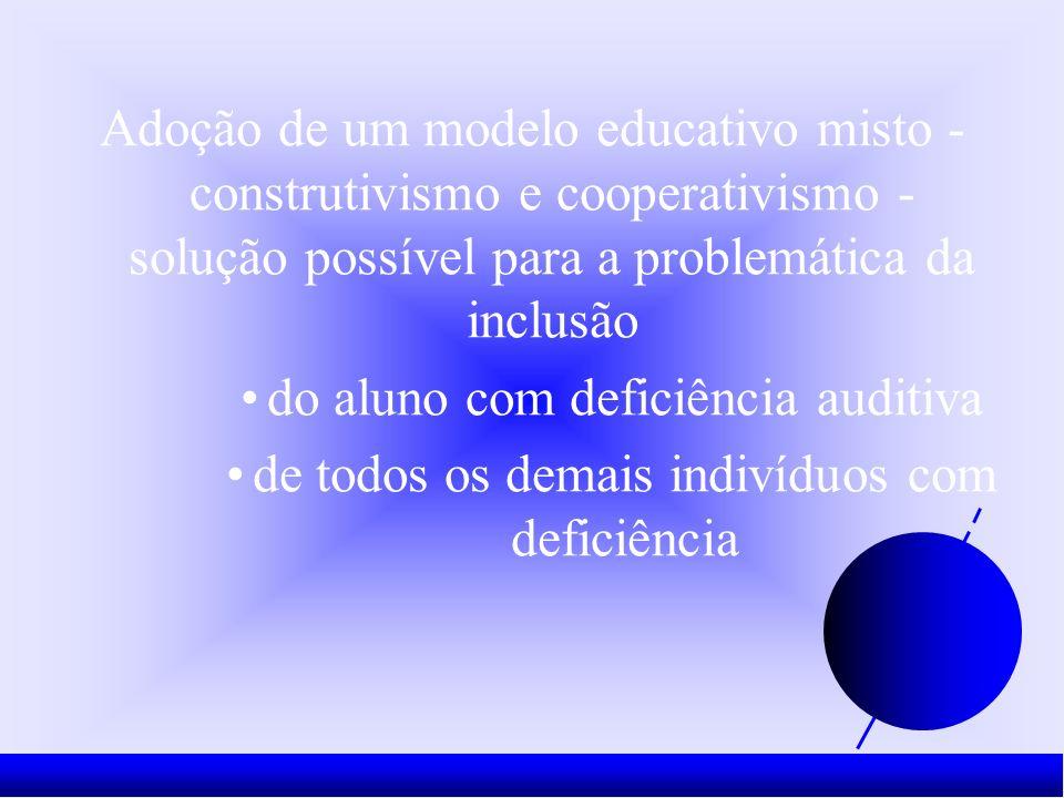 Adoção de um modelo educativo misto - construtivismo e cooperativismo - solução possível para a problemática da inclusão do aluno com deficiência auditiva de todos os demais indivíduos com deficiência