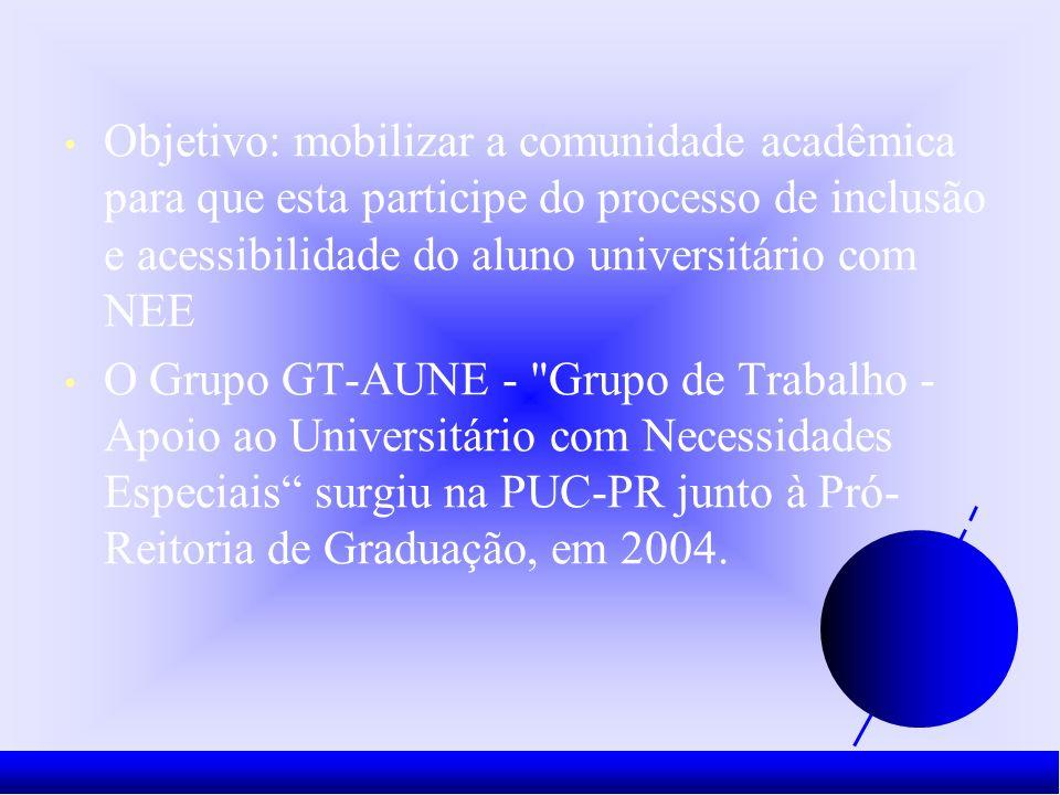 Objetivo: mobilizar a comunidade acadêmica para que esta participe do processo de inclusão e acessibilidade do aluno universitário com NEE O Grupo GT-AUNE - Grupo de Trabalho - Apoio ao Universitário com Necessidades Especiais surgiu na PUC-PR junto à Pró- Reitoria de Graduação, em 2004.