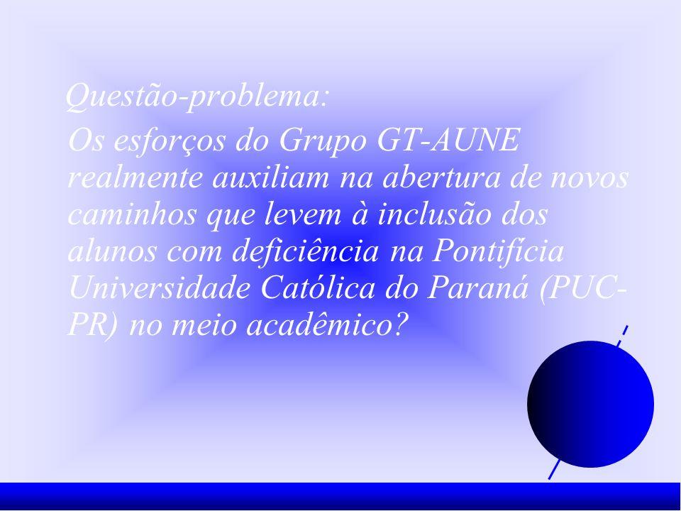Questão-problema: Os esforços do Grupo GT-AUNE realmente auxiliam na abertura de novos caminhos que levem à inclusão dos alunos com deficiência na Pontifícia Universidade Católica do Paraná (PUC- PR) no meio acadêmico