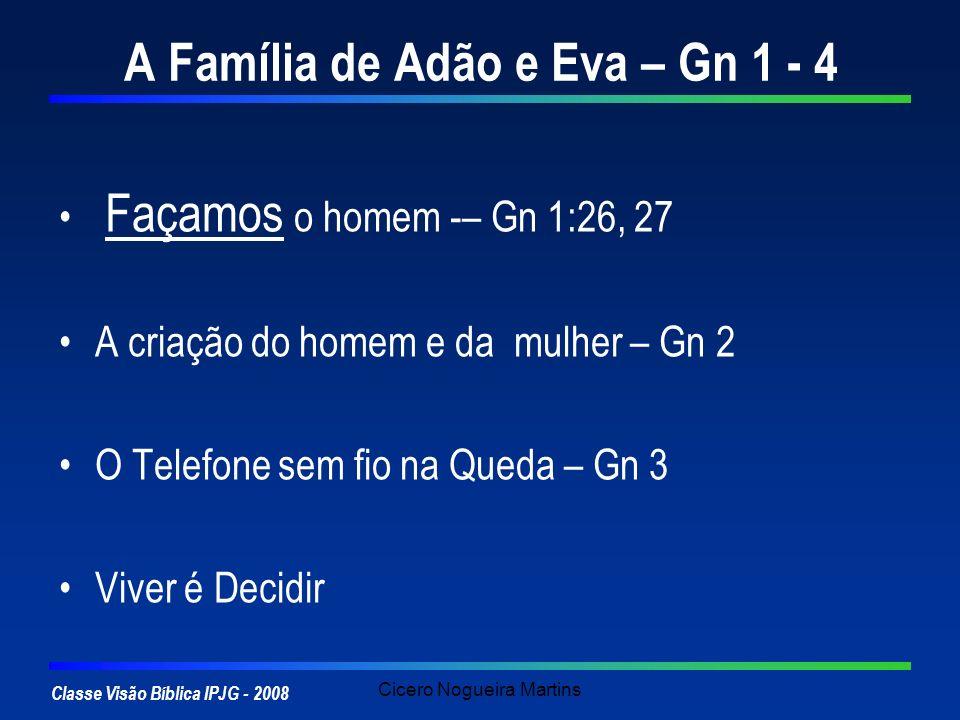Classe Visão Bíblica IPJG - 2008 Cicero Nogueira Martins A Família de Adão e Eva – Gn 1 - 4 Façamos o homem -– Gn 1:26, 27 A criação do homem e da mul