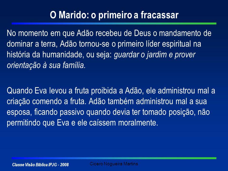 Classe Visão Bíblica IPJG - 2008 Cicero Nogueira Martins O Marido: o primeiro a fracassar No momento em que Adão recebeu de Deus o mandamento de domin