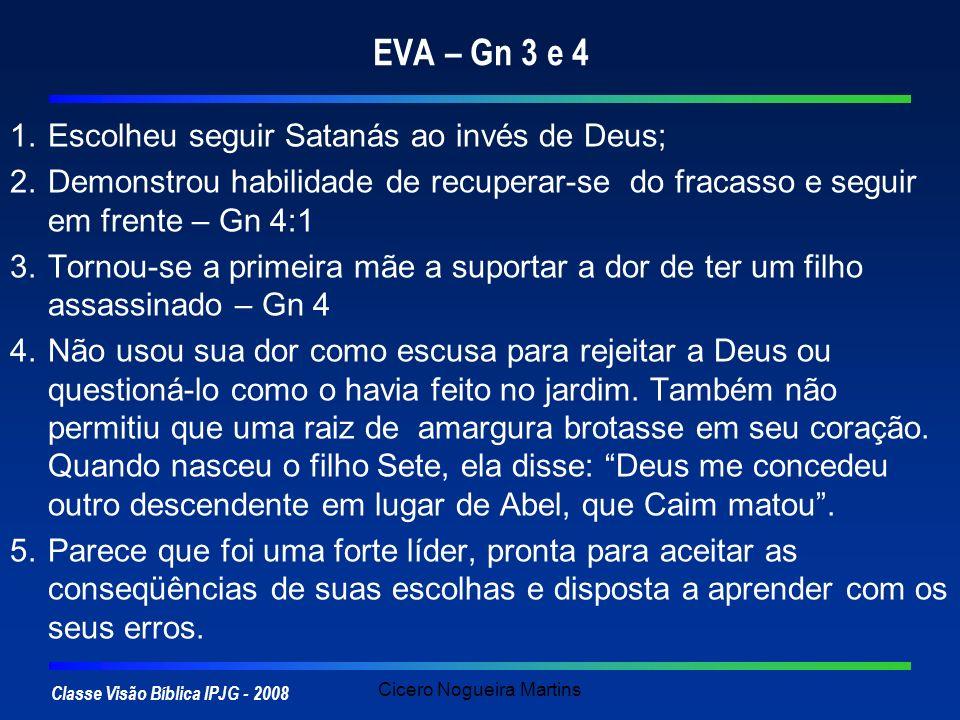 Classe Visão Bíblica IPJG - 2008 Cicero Nogueira Martins EVA – Gn 3 e 4 1.Escolheu seguir Satanás ao invés de Deus; 2.Demonstrou habilidade de recuper
