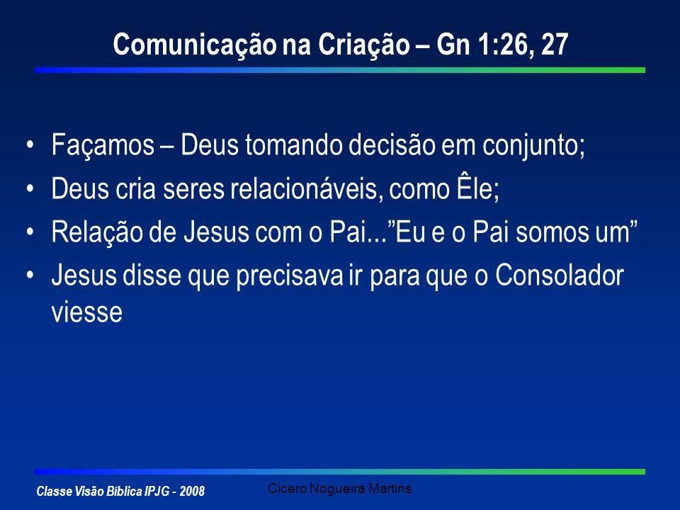 Classe Visão Bíblica IPJG - 2008 Cicero Nogueira Martins Comunicação na Criação – Gn 1:26, 27 Façamos – Deus tomando decisão em conjunto; Deus cria se