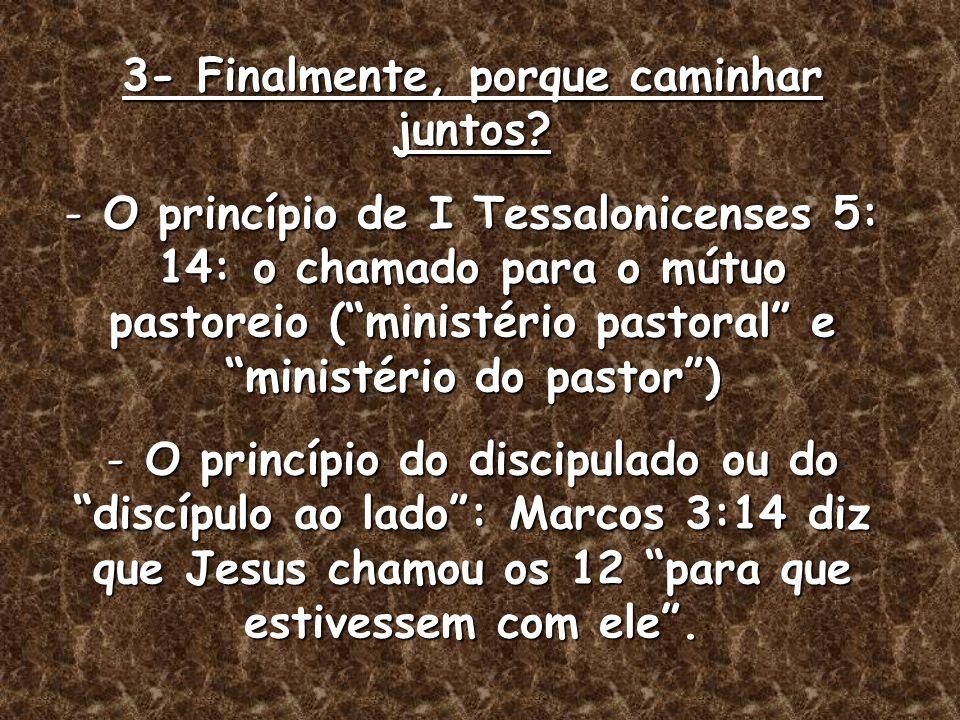 3- Finalmente, porque caminhar juntos? - O princípio de I Tessalonicenses 5: 14: o chamado para o mútuo pastoreio (ministério pastoral e ministério do