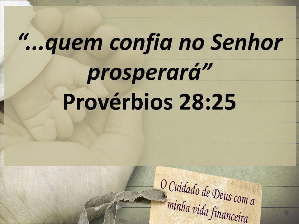...quem confia no Senhor prosperará Provérbios 28:25