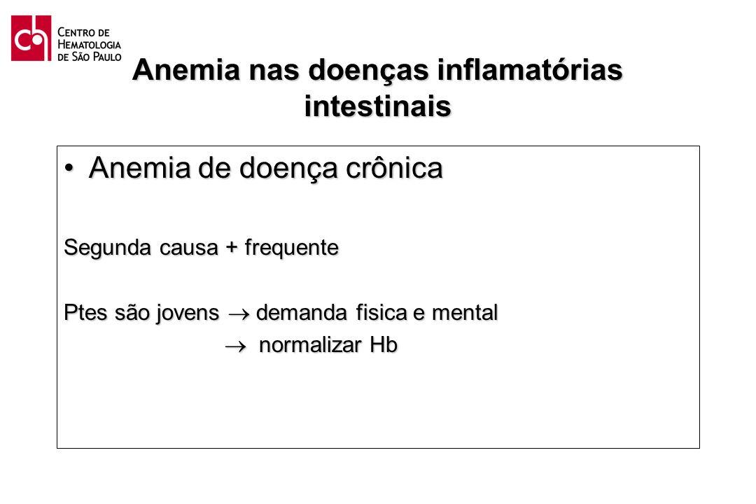 Anemia nas doenças inflamatórias intestinais Anemia de doença crônicaAnemia de doença crônica Segunda causa + frequente Ptes são jovens demanda fisica