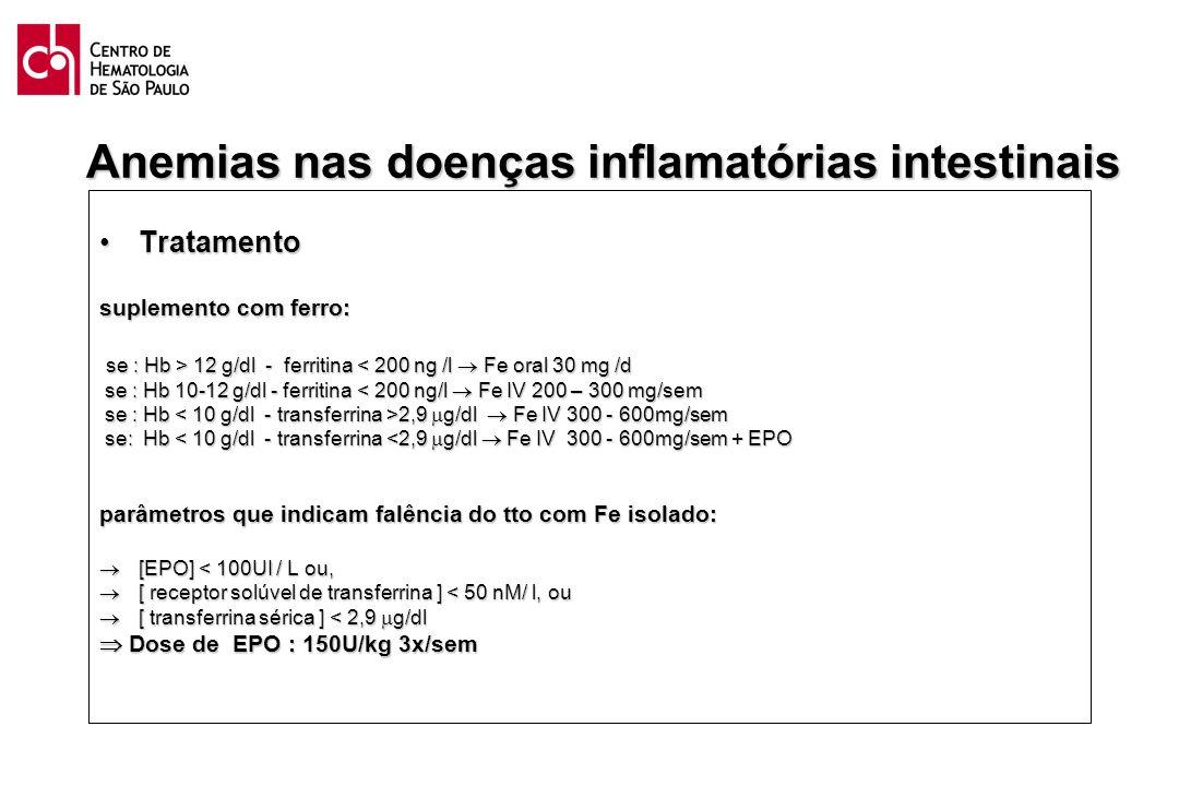 Anemias nas doenças inflamatórias intestinais TratamentoTratamento suplemento com ferro: se : Hb > 12 g/dl - ferritina 12 g/dl - ferritina < 200 ng /l