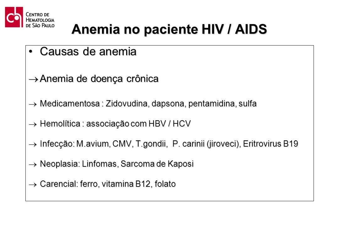 Anemia no paciente HIV / AIDS Causas de anemiaCausas de anemia Anemia de doença crônica Anemia de doença crônica Medicamentosa : Zidovudina, dapsona,