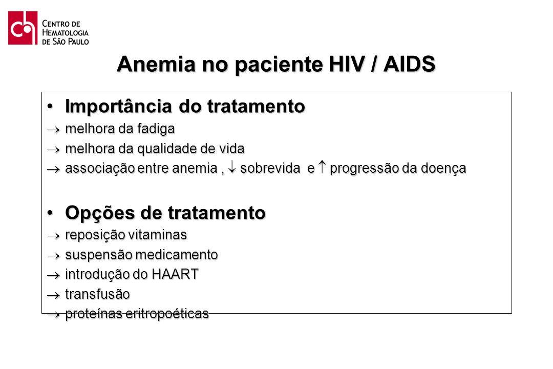 Anemia no paciente HIV / AIDS Importância do tratamentoImportância do tratamento melhora da fadiga melhora da fadiga melhora da qualidade de vida melh
