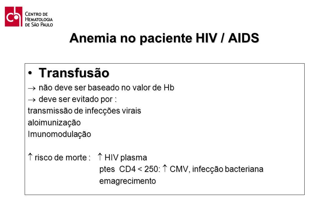 Anemia no paciente HIV / AIDS TransfusãoTransfusão não deve ser baseado no valor de Hb não deve ser baseado no valor de Hb deve ser evitado por : deve