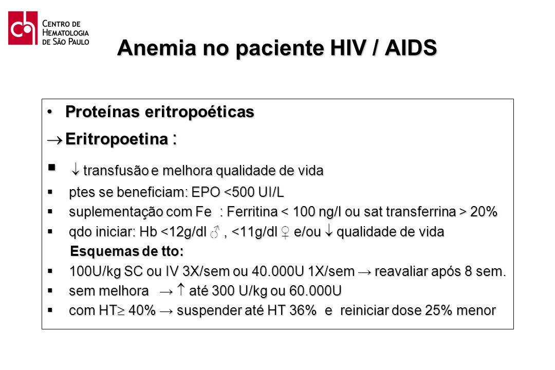 Anemia no paciente HIV / AIDS Proteínas eritropoéticasProteínas eritropoéticas Eritropoetina : Eritropoetina : transfusão e melhora qualidade de vida