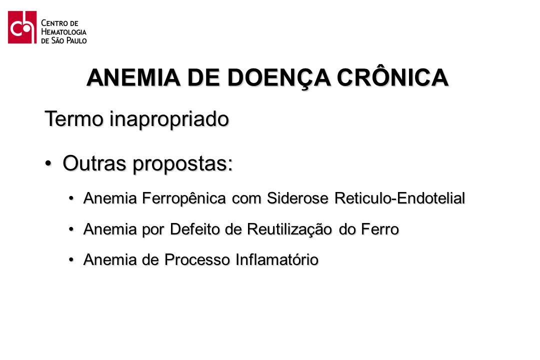 ANEMIA DE DOENÇA CRÔNICA Termo inapropriado Outras propostas:Outras propostas: Anemia Ferropênica com Siderose Reticulo-EndotelialAnemia Ferropênica c