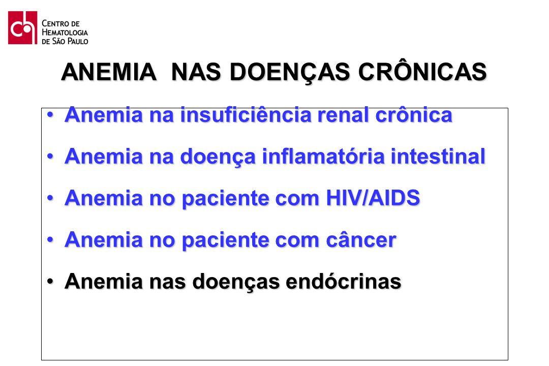 ANEMIA NAS DOENÇAS CRÔNICAS Anemia na insuficiência renal crônicaAnemia na insuficiência renal crônica Anemia na doença inflamatória intestinalAnemia