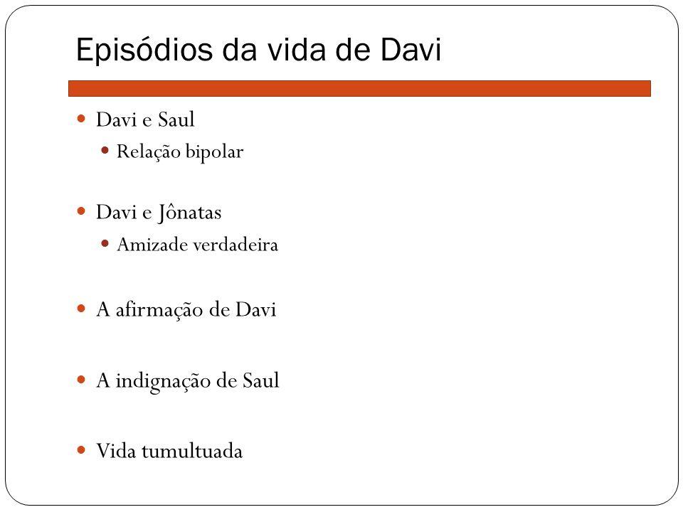 Episódios da vida de Davi Davi e Saul Relação bipolar Davi e Jônatas Amizade verdadeira A afirmação de Davi A indignação de Saul Vida tumultuada