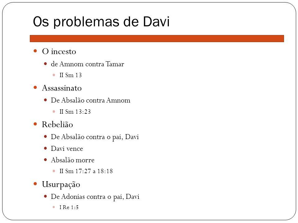 Os problemas de Davi O incesto de Amnom contra Tamar II Sm 13 Assassinato De Absalão contra Amnom II Sm 13:23 Rebelião De Absalão contra o pai, Davi D