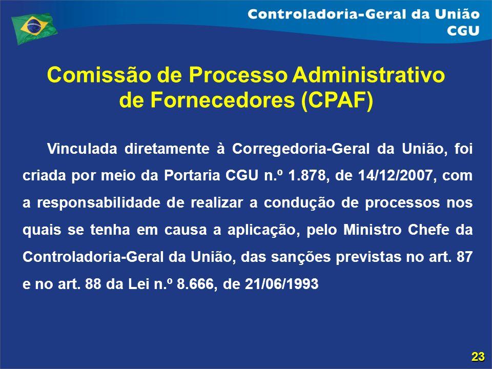 Comissão de Processo Administrativo de Fornecedores (CPAF) Vinculada diretamente à Corregedoria-Geral da União, foi criada por meio da Portaria CGU n.