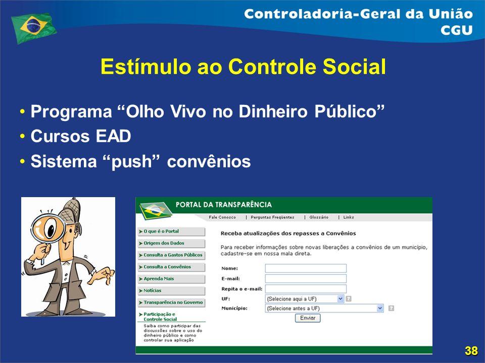 Estímulo ao Controle Social Programa Olho Vivo no Dinheiro Público Cursos EAD Sistema push convênios 38