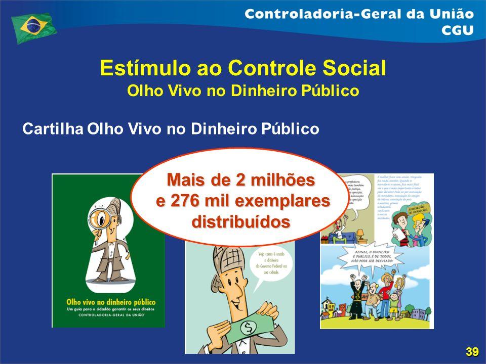 Estímulo ao Controle Social Olho Vivo no Dinheiro Público Mais de 2 milhões e 276 mil exemplares distribuídos e 276 mil exemplares distribuídos Cartil