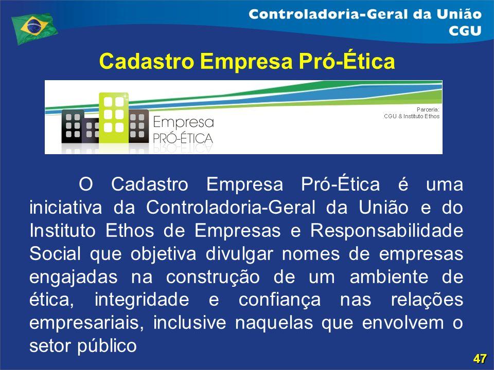 Cadastro Empresa Pró-Ética O Cadastro Empresa Pró-Ética é uma iniciativa da Controladoria-Geral da União e do Instituto Ethos de Empresas e Responsabi