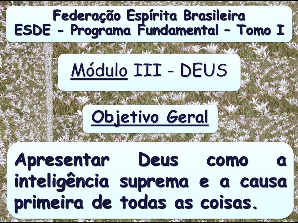 Federação Espírita Brasileira ESDE - Programa Fundamental – Tomo I Federação Espírita Brasileira ESDE - Programa Fundamental – Tomo I Módulo III - DEUS Apresentar Deus como a inteligência suprema e a causa primeira de todas as coisas.