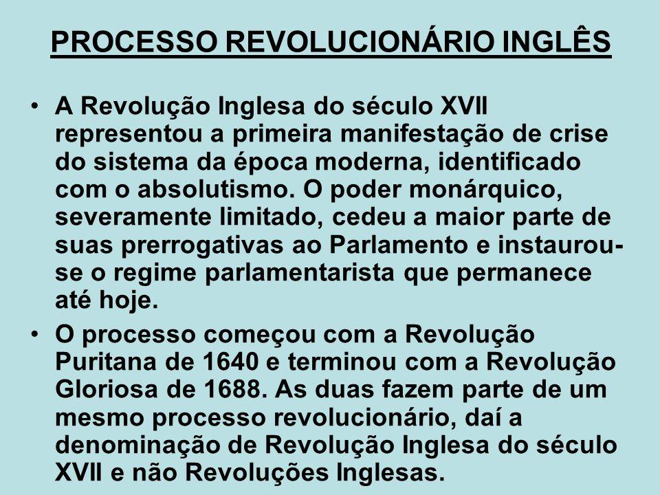 PROCESSO REVOLUCIONÁRIO INGLÊS A Revolução Inglesa do século XVII representou a primeira manifestação de crise do sistema da época moderna, identifica