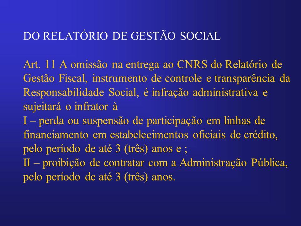 DO RELATÓRIO DE GESTÃO SOCIAL Art. 11 A omissão na entrega ao CNRS do Relatório de Gestão Fiscal, instrumento de controle e transparência da Responsab