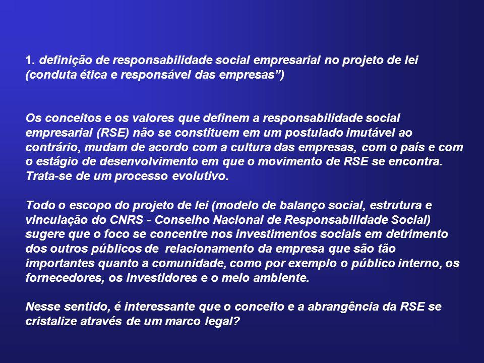 1. definição de responsabilidade social empresarial no projeto de lei (conduta ética e responsável das empresas) Os conceitos e os valores que definem