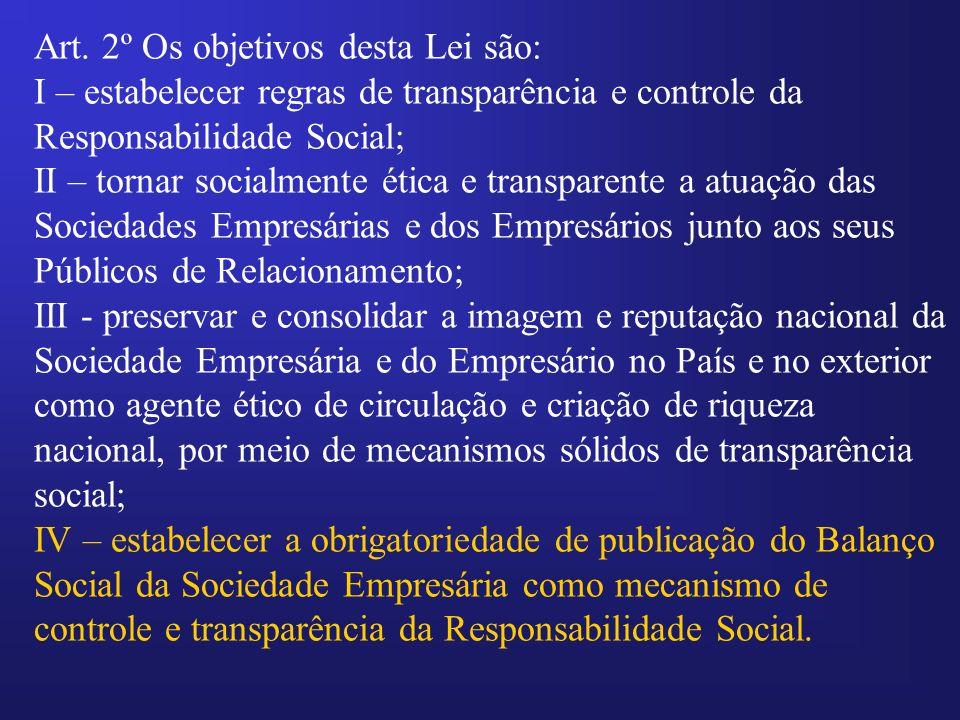 Art. 2º Os objetivos desta Lei são: I – estabelecer regras de transparência e controle da Responsabilidade Social; II – tornar socialmente ética e tra
