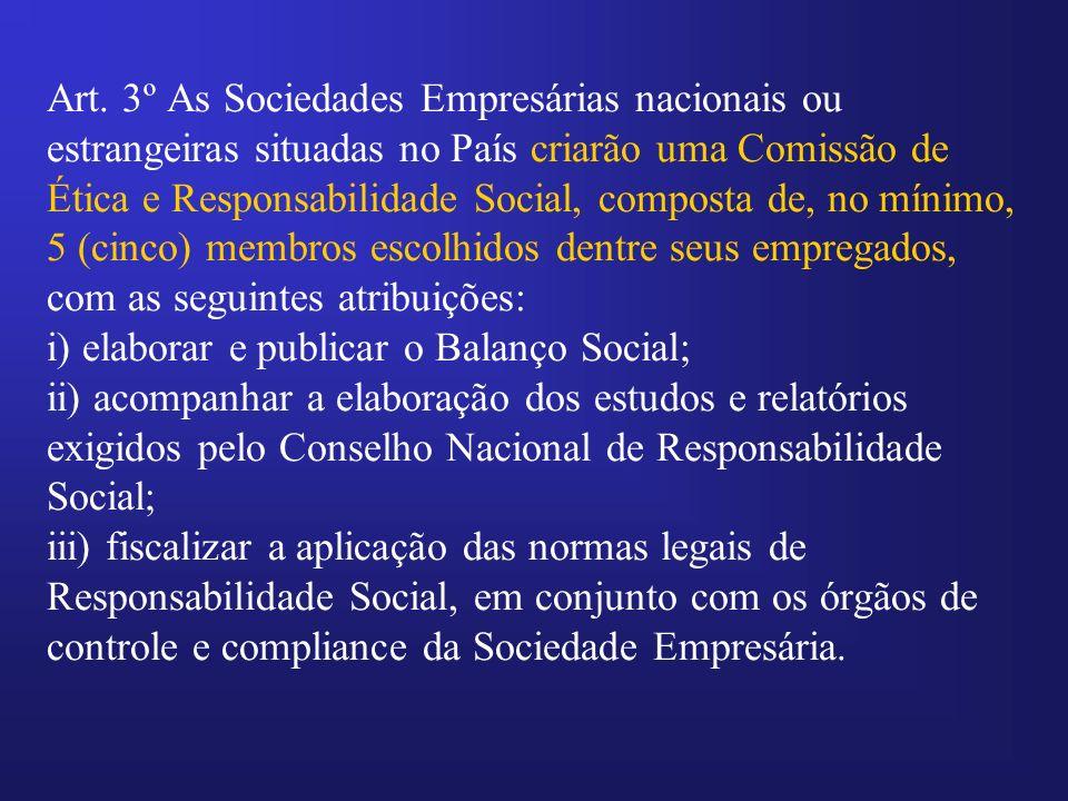 Art. 3º As Sociedades Empresárias nacionais ou estrangeiras situadas no País criarão uma Comissão de Ética e Responsabilidade Social, composta de, no