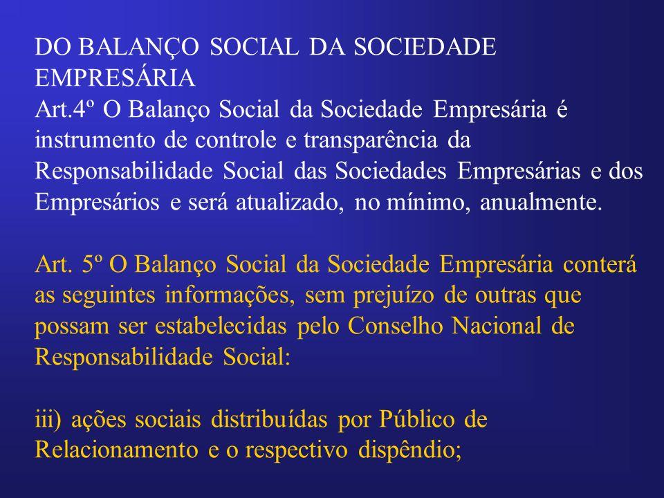 DO BALANÇO SOCIAL DA SOCIEDADE EMPRESÁRIA Art.4º O Balanço Social da Sociedade Empresária é instrumento de controle e transparência da Responsabilidad