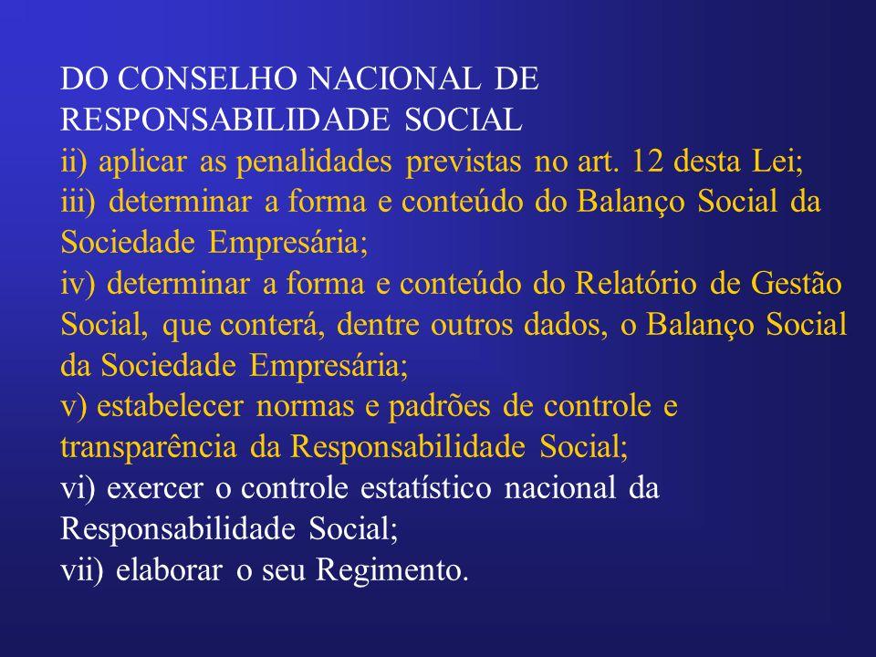 DO CONSELHO NACIONAL DE RESPONSABILIDADE SOCIAL ii) aplicar as penalidades previstas no art. 12 desta Lei; iii) determinar a forma e conteúdo do Balan