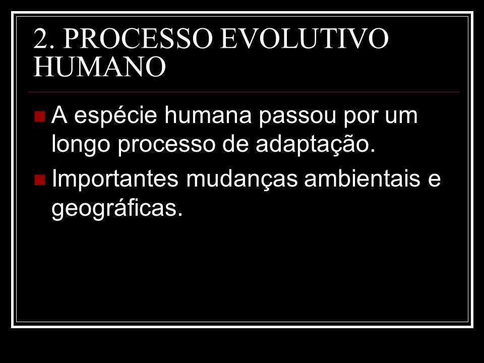2. PROCESSO EVOLUTIVO HUMANO A espécie humana passou por um longo processo de adaptação. Importantes mudanças ambientais e geográficas.