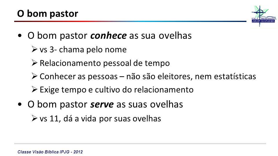 Classe Visão Bíblica IPJG - 2012 O bom pastor O bom pastor conhece as sua ovelhas vs 3- chama pelo nome Relacionamento pessoal de tempo Conhecer as pe