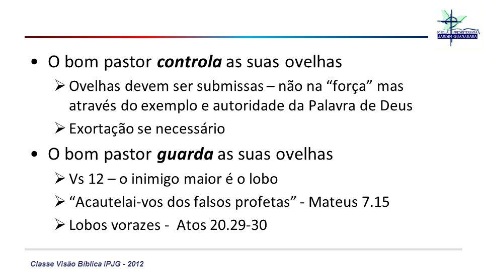 Classe Visão Bíblica IPJG - 2012 O bom pastor controla as suas ovelhas Ovelhas devem ser submissas – não na força mas através do exemplo e autoridade