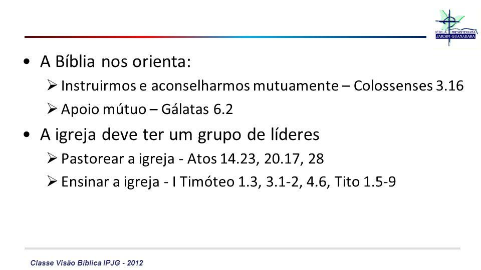 Classe Visão Bíblica IPJG - 2012 A Bíblia nos orienta: Instruirmos e aconselharmos mutuamente – Colossenses 3.16 Apoio mútuo – Gálatas 6.2 A igreja de