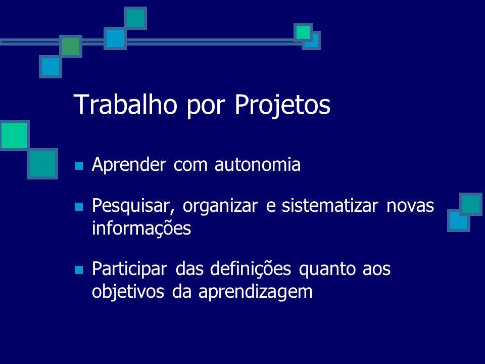Aprender com autonomia Pesquisar, organizar e sistematizar novas informações Participar das definições quanto aos objetivos da aprendizagem