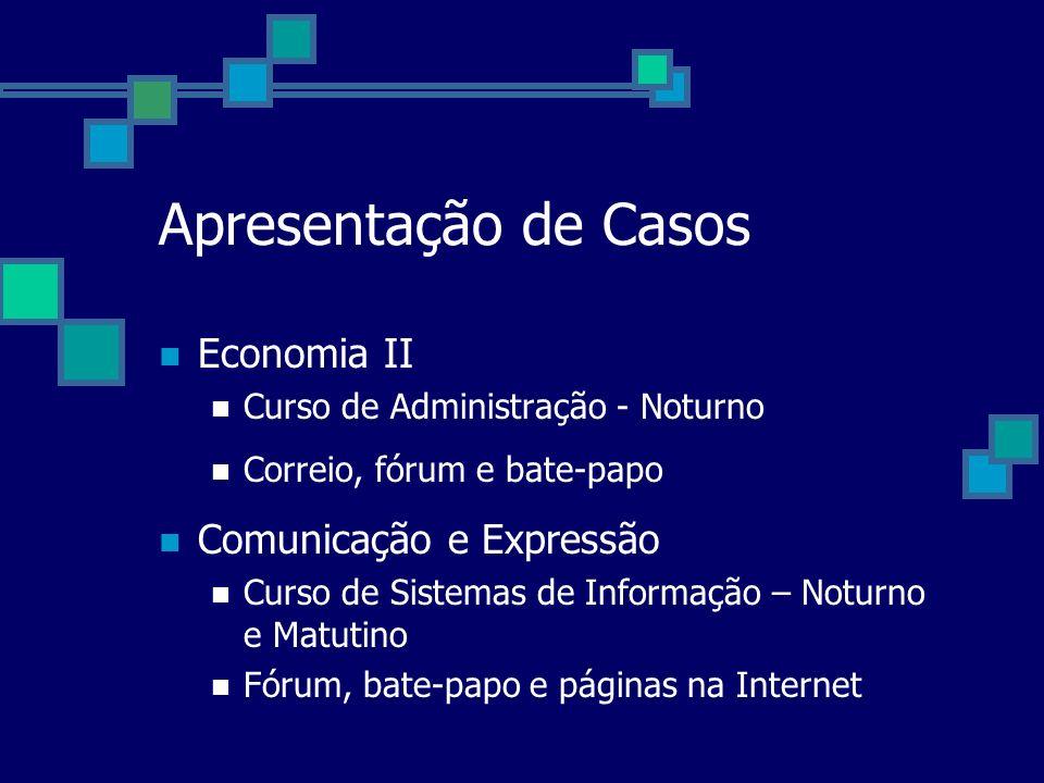 Apresentação de Casos Economia II Curso de Administração - Noturno Correio, fórum e bate-papo Comunicação e Expressão Curso de Sistemas de Informação