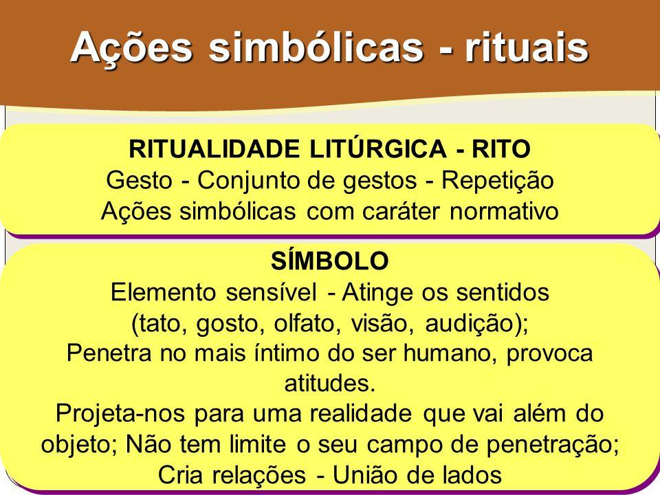 Ações simbólicas - rituais RITUALIDADE LITÚRGICA - RITO Gesto - Conjunto de gestos - Repetição Ações simbólicas com caráter normativo RITUALIDADE LITÚ