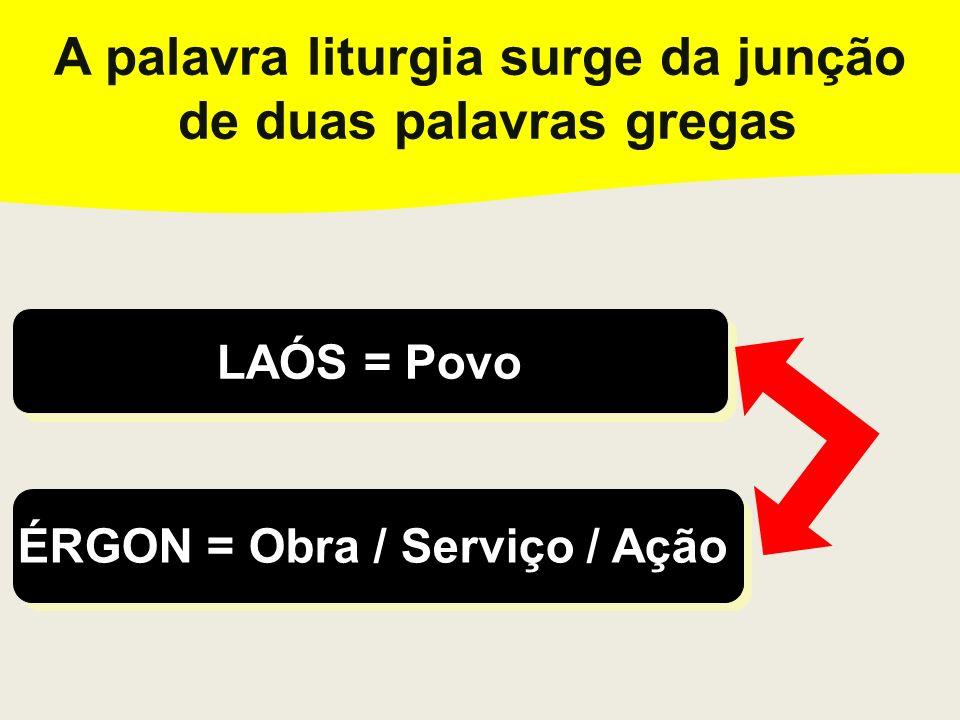 A palavra liturgia surge da junção de duas palavras gregas A palavra liturgia surge da junção de duas palavras gregas LAÓS = Povo LAÓS = Povo ÉRGON =