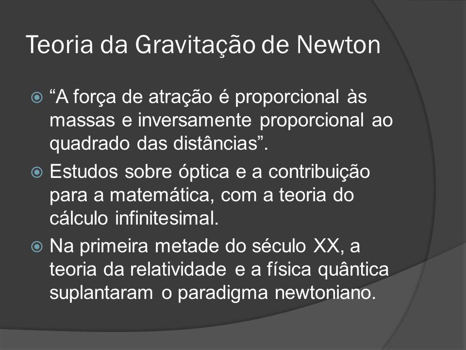 Teoria da Gravitação de Newton A força de atração é proporcional às massas e inversamente proporcional ao quadrado das distâncias. Estudos sobre óptic