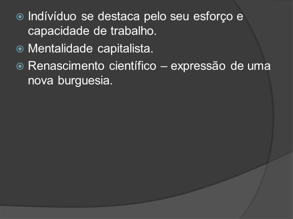 Indívíduo se destaca pelo seu esforço e capacidade de trabalho. Mentalidade capitalista. Renascimento científico – expressão de uma nova burguesia.