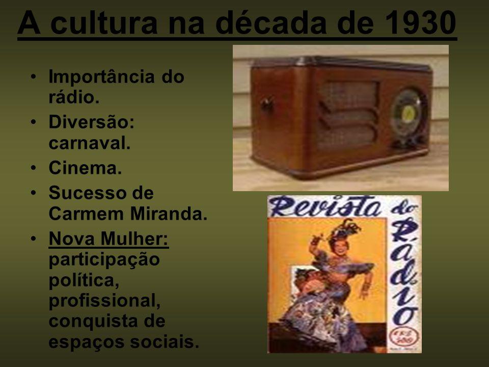 A cultura na década de 1930