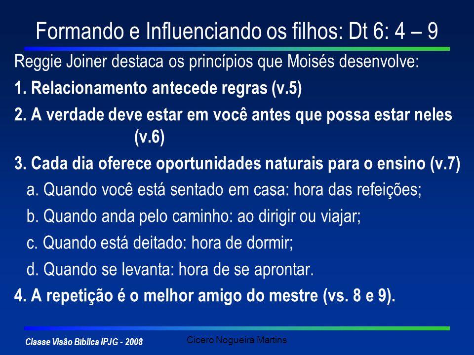 Classe Visão Bíblica IPJG - 2008 Cicero Nogueira Martins Formando e Influenciando os filhos: Dt 6: 4 – 9 Reggie Joiner destaca os princípios que Moisé
