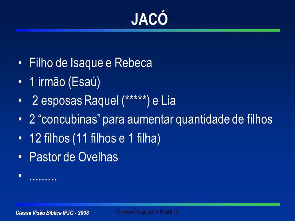 Classe Visão Bíblica IPJG - 2008 Cicero Nogueira Martins JACÓ Filho de Isaque e Rebeca 1 irmão (Esaú) 2 esposas Raquel (*****) e Lia 2 concubinas para